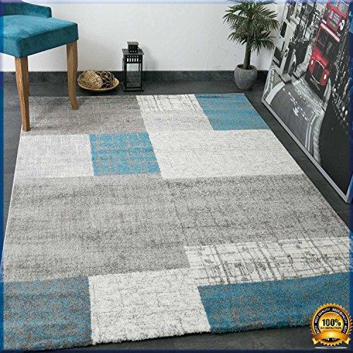 Vimoda tapis poils courts de designer en turquoise gris for Tapis turquoise et gris